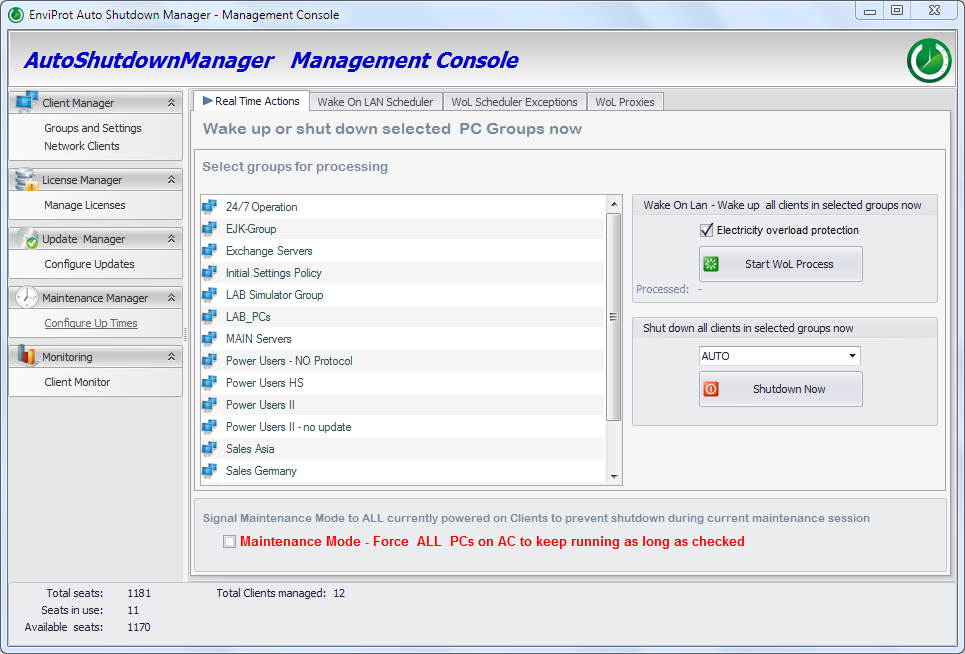PC Power Management Real Time Actions